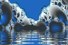 Blue grottoes. Caves half-submerged in blue water, fractal generated stock illustration