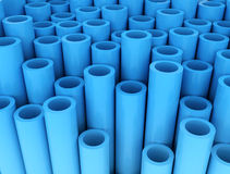 Blue group of plastic tubes Stock Photos