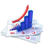 Blue growing bar chart Royalty Free Stock Photos