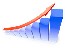 Blue growing bar chart business success concept Stock Photos