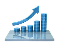 Blue growing business graph Royalty Free Stock Images