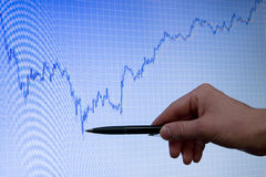 Blue growing forex chart on display and pen. Blue forex stock chart on computer monitor is growing, hand with pen is pointed on lower peak of graph Stock Image