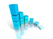 Blue Growth Business Bar Graph. 3d Render Illustration Royalty Free Stock Photo