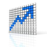 Blue growth up arrow from white cubes Stock Images