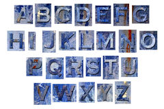 Blue grunge alphabet letters Royalty Free Stock Photos