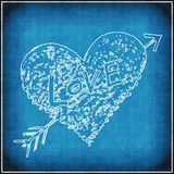 Blue grunge background with white abstract heart Royalty Free Stock Photo