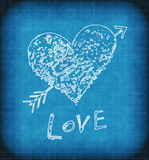 Blue grunge background with white abstract heart. Blue grunge background with white abstract love symbol Stock Image