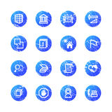 Blue grunge building icons Royalty Free Stock Photos