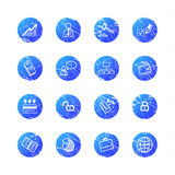 Blue grunge business icons Royalty Free Stock Photo