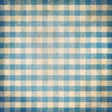 Blue grunge checked gingham picnic tablecloth background Stock Photo