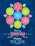 Blue grunge Christmas card with snowflakes and greeting text, ve stock photo