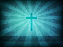 Blue grunge Cross. Blue cross on grunge background with light rays Stock Photo