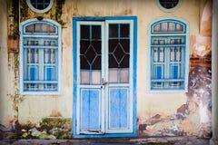 Blue grunge door Royalty Free Stock Image