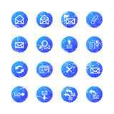 Blue grunge e-mail icons Stock Image