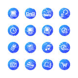 Blue grunge e-shop icons Stock Image