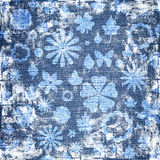 Blue grunge floral fabric texture Stock Image