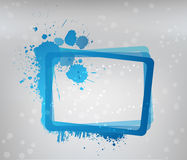 Blue grunge frame on gray background Stock Images