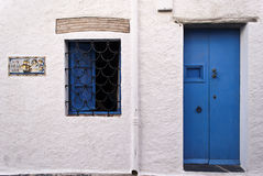 Blue,grunge front door royalty free stock images