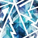 Blue grunge geometric seamless pattern stock illustration
