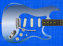 Blue Grunge Guitar Royalty Free Stock Image