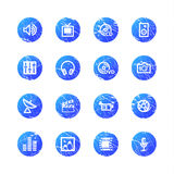 Blue grunge media icons Stock Photos