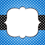 Blue grunge polka dots frame greeting card