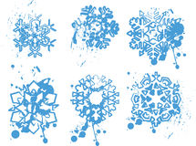 Blue grunge snowflakes Royalty Free Stock Photos