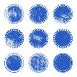 Blue Grunge Stamp Set Stock Images