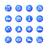 Blue grunge travel icons stock illustration