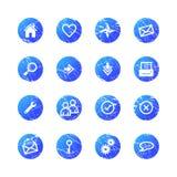 Blue grunge web icons Royalty Free Stock Photo