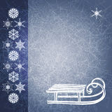 Blue grunge winter background with sledge. EPS10 Royalty Free Stock Image