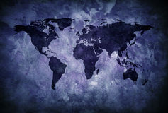 Blue grunge world map Royalty Free Stock Photography