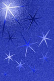 Blue grungy background with five pointed stars Royalty Free Stock Images
