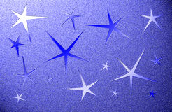 Blue grungy background with five pointed stars Stock Photos