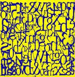 Blue grungy Letters and Numbers Yellow Background stock photos