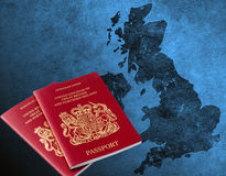 Blue grungy UK and Ireland map Stock Photo