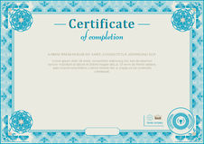 Blue guilloche border. Official certificate Stock Image