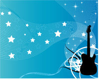 Blue  guitar. A silhouette of a guitar on a blue background filled with stars and stripes Royalty Free Stock Photos