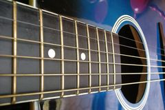 Blue guitar. Blue acoustic guitar -  roc metal music Royalty Free Stock Image