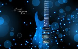 Blue guitar against a dark glitter background Stock Image