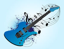 Blue guitar and music Stock Image