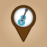 Blue guitar vintage background icon Royalty Free Stock Images