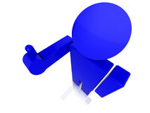 Blue guy close up raising his arm with thumbs up Royalty Free Stock Images