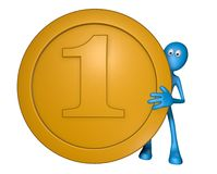 Blue guy with coin. Coin and blue guy on white background - 3d illustration Royalty Free Stock Photo