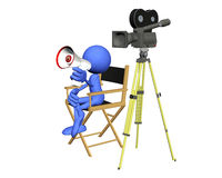 Blue Guy Film Director. 3d illustration for the blue guy Royalty Free Stock Photo