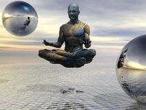 Blue guy floating meditation. 3d abstract render of a blue and gold guy floating and meditating.  He is surrounded by reflective spheres Stock Images