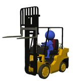 Blue Guy - Forklift. 3d illustration for the blue guy Royalty Free Stock Photo