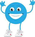 Blue Guy Smiling. Isolated blue man smiling with hands up Stock Photo