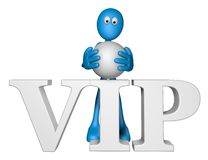 Blue guy and the word vip. 3d illustration Stock Images