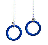 Blue gymnastic rings on a rope. Isolated on a white background Stock Image